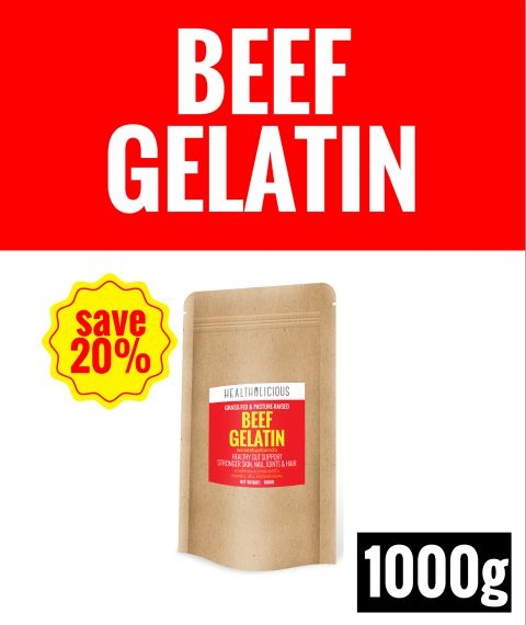 Pasture-Raised Beef Gelatin Powder [1000g] - Healtholicious One-Stop Biohacking Health Shop