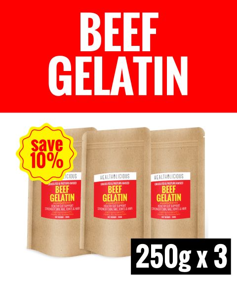 Pasture-Raised Beef Gelatin Powder [3 Packs x 250g] - Healtholicious One-Stop Biohacking Health Shop