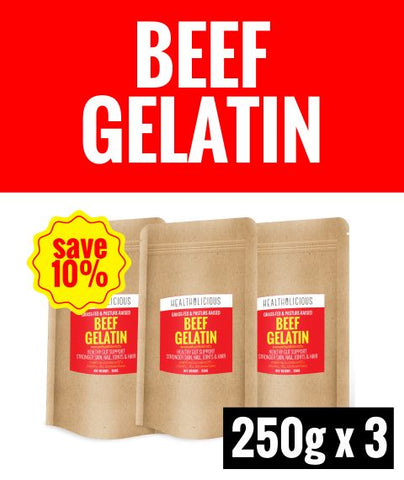 Image of Pasture-Raised Beef Gelatin Powder [3 Packs x 250g] - Healtholicious One-Stop Biohacking Health Shop