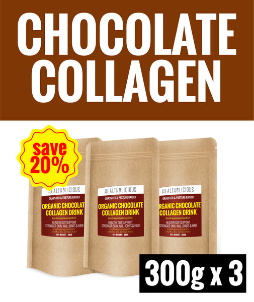 20% SPECIAL DEAL OF THE MONTH ! Organic Chocolate Collagen Drink [3 Packs x 300g] - Healtholicious One-Stop Biohacking Health Shop
