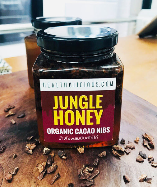 RAW JUNGLE HONEY infused organic cocoa nibs