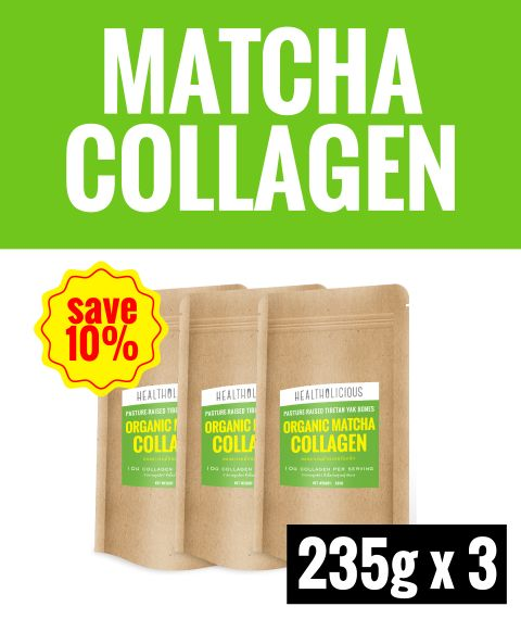 Organic Uji Matcha Collagen Drink [3 Packs x 235g] - Healtholicious One-Stop Biohacking Health Shop