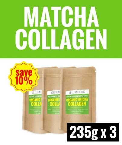 Image of Organic Uji Matcha Collagen Drink [3 Packs x 235g] - Healtholicious One-Stop Biohacking Health Shop