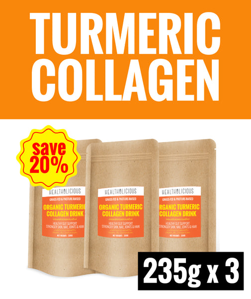 20% SPECIAL DEAL OF THE MONTH ! Organic Turmeric Collagen Drink [3 Packs x 235g] - Healtholicious One-Stop Biohacking Health Shop