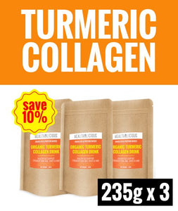 Organic Turmeric Collagen Drink [3 Packs x 235g] - Healtholicious One-Stop Biohacking Health Shop