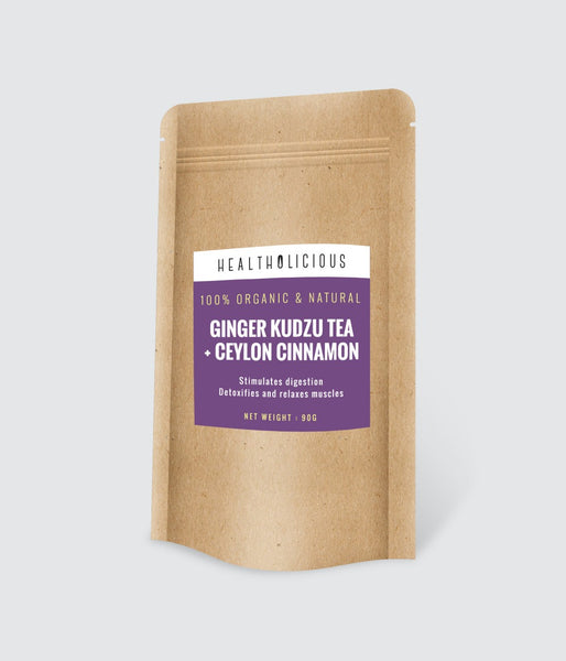 Organic Ginger / Ceylon Cinnamon Tea with Japanese kudzu - Detoxifying & Assists Digestion 90g - Healtholicious Co. Ltd.