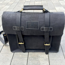 Leather Briefcase, Messenger Bag - Black