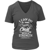 Philippians 4:13 V-Neck Tee Shirts- White Font - The Shoppers Outlet