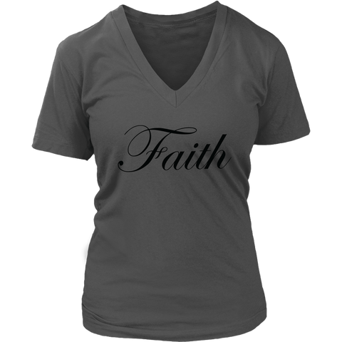 Faith Script V-Neck Tee Shirts - The Shoppers Outlet