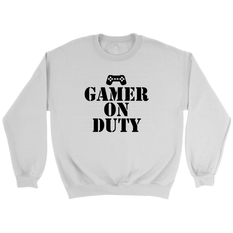 Gamer on Duty Crewneck Sweatshirts- Black Font (6 Colors) - The Shoppers Outlet