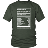 Pure Black Nutritional Facts Tee Shirts - The Shoppers Outlet