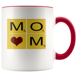 Mother  - Square Cube Heart Accent Mugs (8 Colors) - The Shoppers Outlet