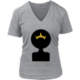 Afro Shadow Queen V-Neck Tee Shirts - The Shoppers Outlet