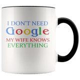 Wife - My Wife Knows Everything Accent Mug (7 Colors) - The Shoppers Outlet