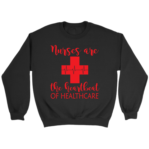 Nurses Are The Heartbeat Crewneck Sweatshirts - The Shoppers Outlet