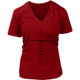 Faith Cross V-Neck Tee Shirts - The Shoppers Outlet