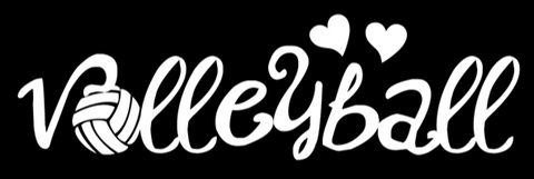 Volleyball Window Decal - VB Hearts