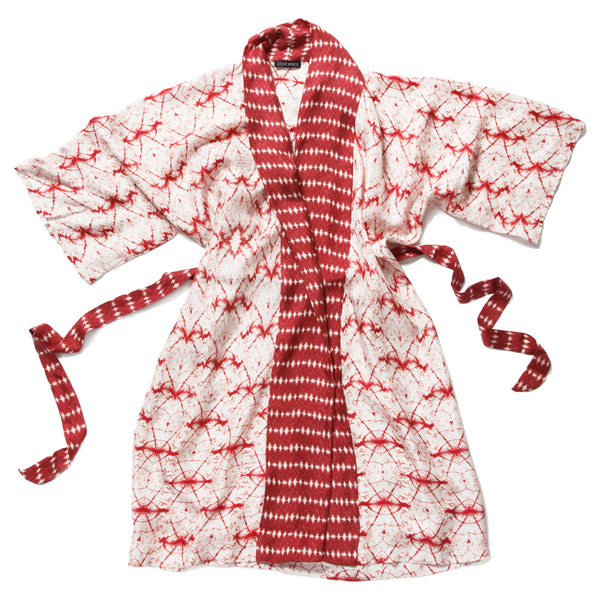 Wavelengths Red Silk Robe de Chambre