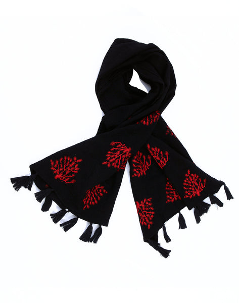 Brazil Tree Black & Red Boiled Wool Scarf