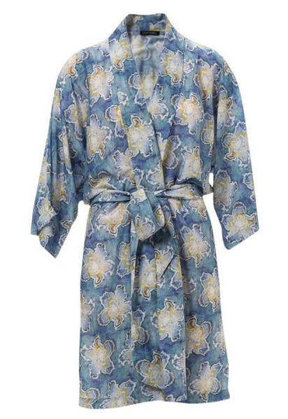 Alastair Orchid Lapis Cotton/Silk Robe