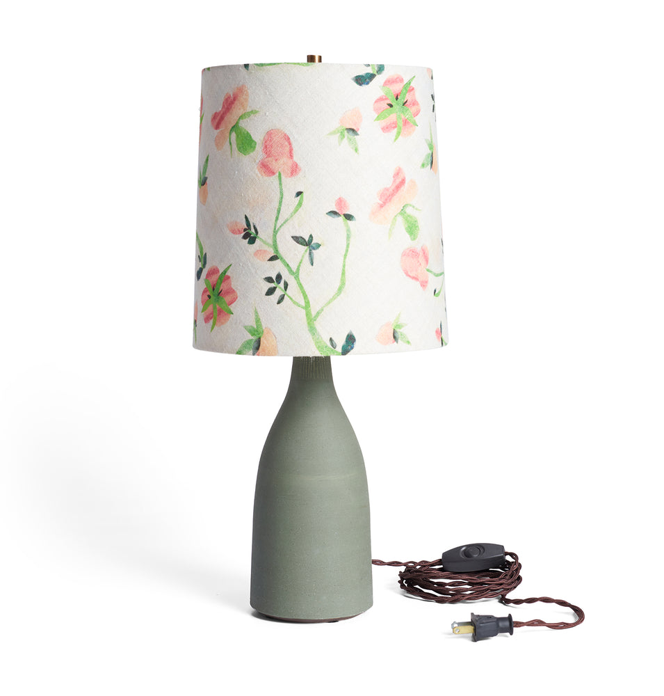 Matte Green Bottle Lamp+ Dianthus Shade