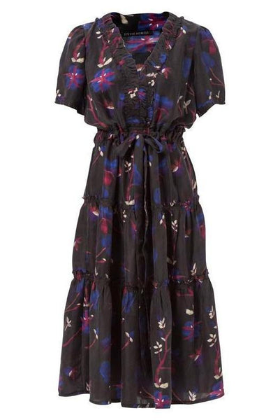 Dianthus Plum Silk Haley Tiered Dress