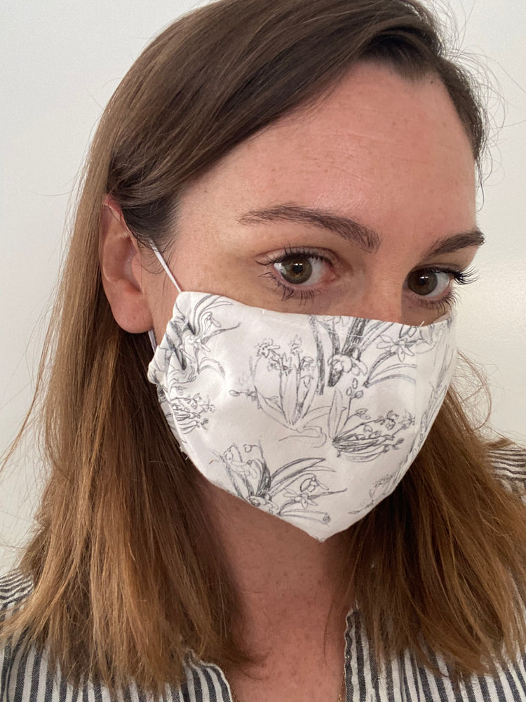 Load image into Gallery viewer, Blueprint Flower Organic Cotton Face Mask