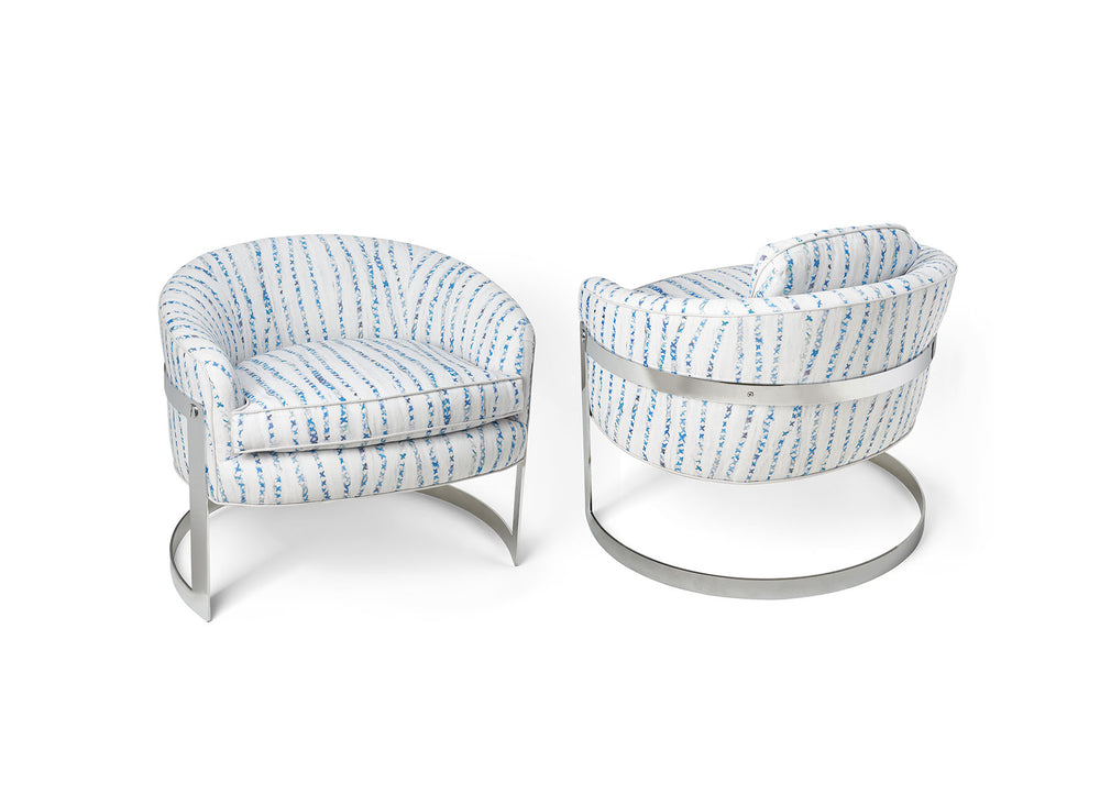 Milo Baughman Club Chairs in Blanket Blue