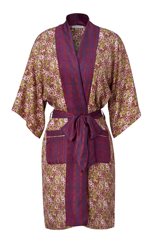 Silk Mosaic Mustard Border Robe
