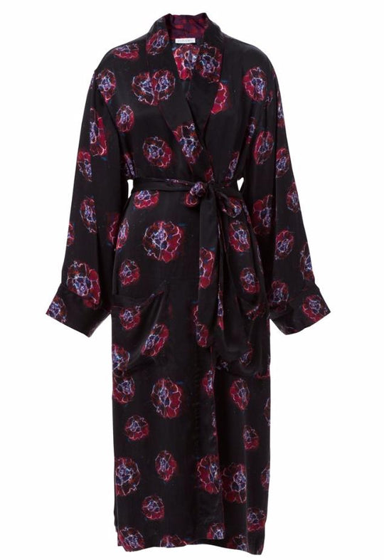Welles Phoebe Flower Silk Robe Coat