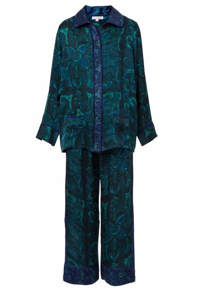 Morgan Neptune Teal Silk Pajama Set