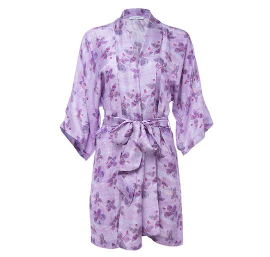 Passion Flower Silk Robe de Chambre