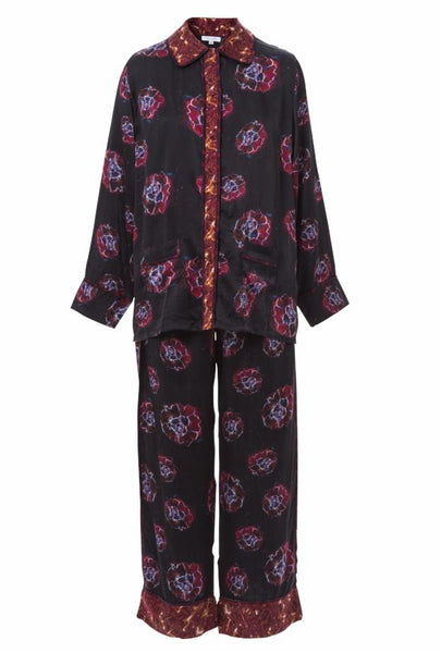 Morgan Phoebe Flower Magenta Silk Pajama Set