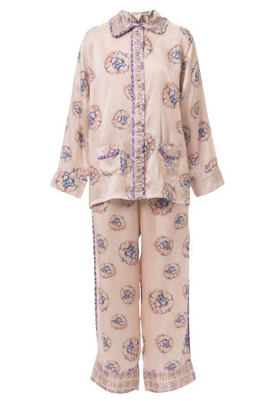 Phoebe Flower Silk Pajama Set (Extra Small)