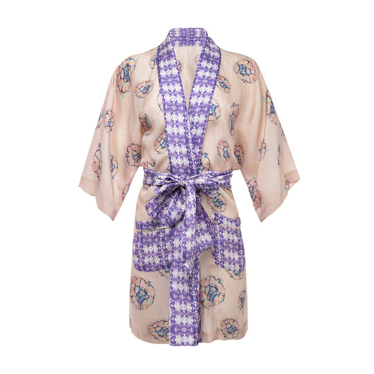 Silk Phoebe Flower Border Robe