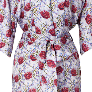 Load image into Gallery viewer, Rosebud Red Silk Robe de Chambre