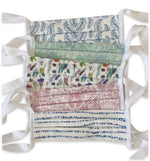 5 Mixed Print Cotton Face Masks with Ties
