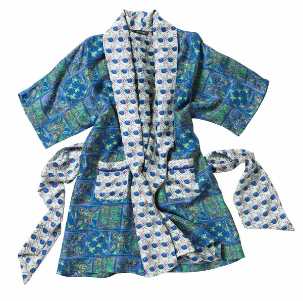 Santa Lucia Tunisian Tile Silk Robe Jacket