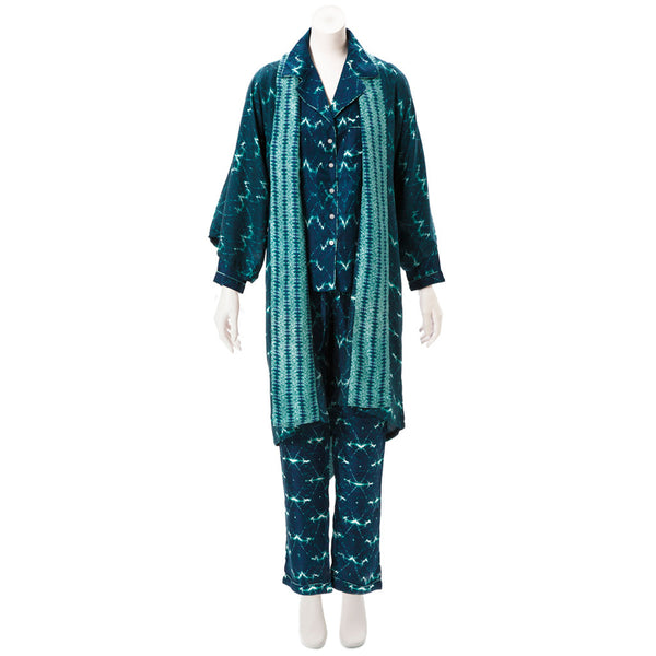 Wavelengths Teal Silk Pajama Set