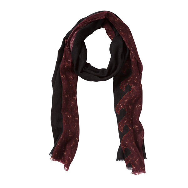 Wave Tile Red Cashmere/Silk Scarf