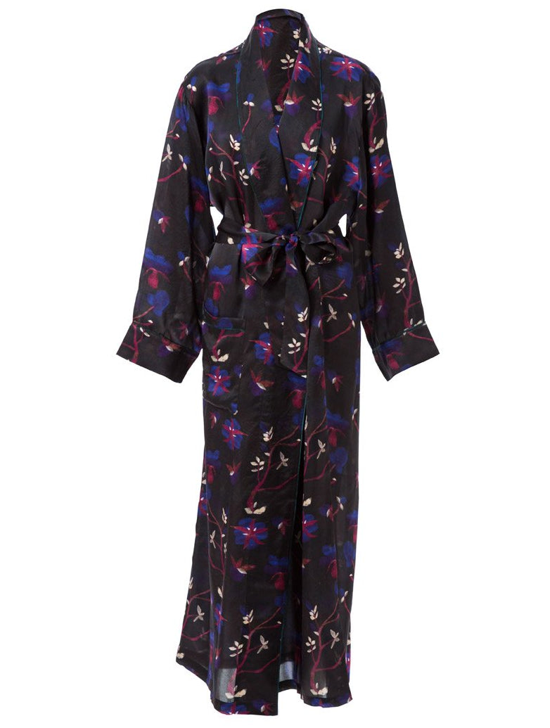 Welles Dianthus Plum Silk Robe Coat