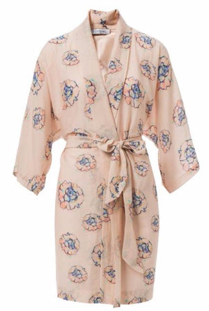 Phoebe Flower Pink Cotton/Silk Robe