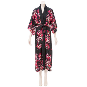 Load image into Gallery viewer, Ritza's Ranunculus Black Silk Kimono Robe