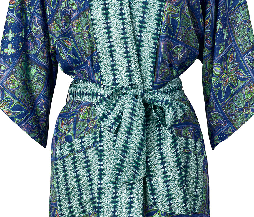 Silk Tunisian Tile Border Robe