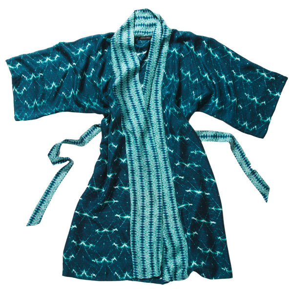 Wavelengths Teal Silk Robe de Chambre