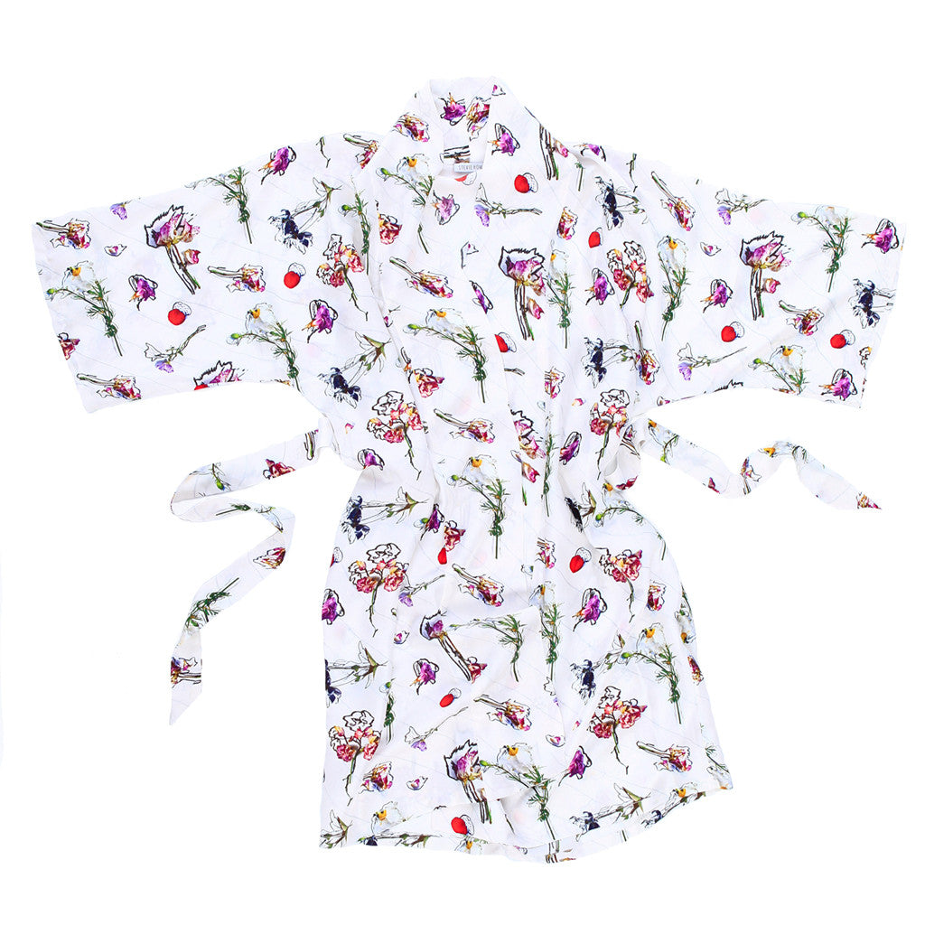 Flower Homicide Cotton/Silk Robe