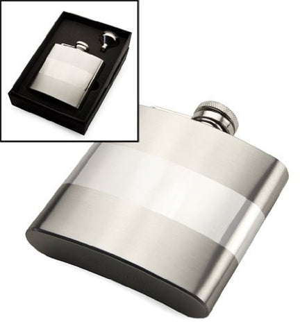 Personalised Polished Band Hip Flask Gift Set CAN BE ENGRAVED - Engrave It Online