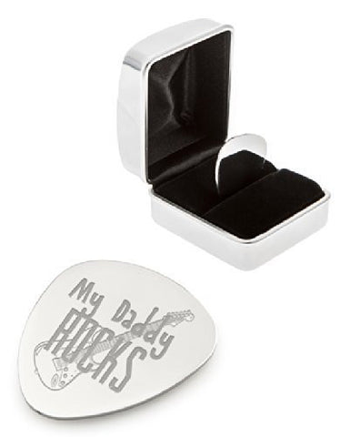 'My Daddy Rocks' Guitar Plectrum / Pick With Chrome Case - Engraved