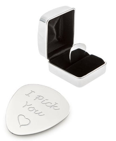'I Pick You' Design Guitar Plectrum / Pick and Chrome Case - Engraved on Reverse