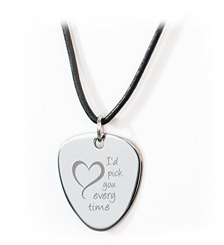 Personalised 'I Pick You' Guitar Plectrum/Pick Leather Necklace Engraved With Your Own Message on Reverse